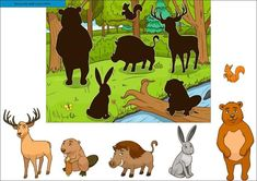 Buy Forest Cartoon Animals with Shadows Vector by AlexanderPokusay on GraphicRiver. Forest cartoon animals with shadows educational game vector llustration Spy Games For Kids, Animal Activities For Kids, Preschool Learning Activities, Preschool Printables, Book Activities, Forest Cartoon, Autism Education, Fall Arts And Crafts, Speech Therapy Games
