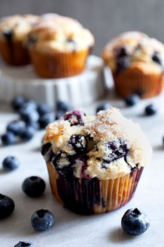 Greek Yogurt Blueberry Muffins from @foodmouth