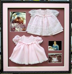 Two baby dresses. Photos make the piece even more meaningful. Framed by Frameworks of Utah.