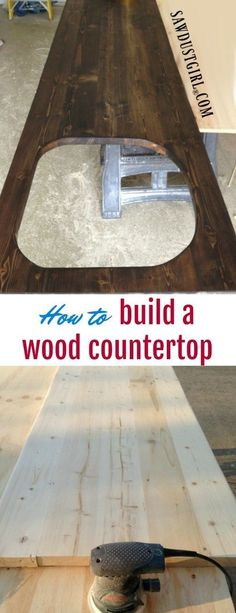 How to build a wood countertop with undermount sink - diy bathroom diy kitchen Diy Wood Countertops, Outdoor Kitchen Countertops, Kitchen Cabinets, Dark Cabinets, Wood Countertop Bathroom, Kitchen Pantry, Kitchen Sinks, Kitchen Shelves, Kitchen Countertop Redo
