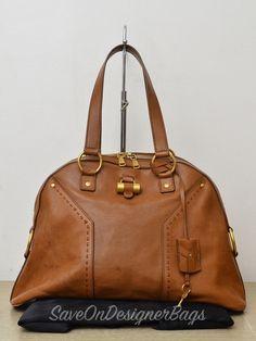 b35d36d3f310 Yves Saint Laurent YSL Muse Large Brown Calf Shoulder Bag Used Authentic