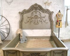 Wow what an amazing complete bed for your romantic boudoir. FEATURES: Super dramatic high headboard with lots of detail and carvings. Complete with footboard, beautiful side rails and slats.  This is a brand new piece that can be painted any color you like. If you are working with specific colors on your bedding or walls just convo us and we can paint any of our pieces to coordinate with your room. We works with any of the colors from the Annie Slone collection. You are also welcome to pick…