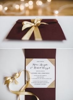 Square pocketfold invitation / Gold glitter / Glamour wedding invitation / Marsala wedding / Marsala invitation suite