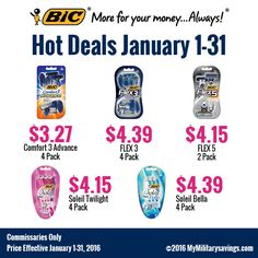 BIC® Razor Savings  Save on Comfort 3 Advance, FLEX 3, FLEX 5, Soleil Twilight, and Soleil Bella