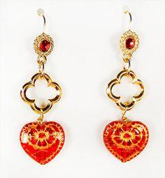 1313 -  Heart earrings, heart jewelry, red glass heart, Swarovski red crystal, Valentine earrings, Valentine jewelry, dangle earrings, by EarringsBraceletsEtc on Etsy