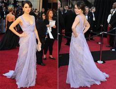 The color of actors Mila Kunis's dress is beautiful and so soft.  It caught everyones eye including mine.