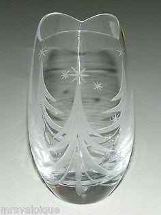 "Beautiful Mikasa Vase ""Silent Night"" Etched Cut Crystal Christmas Tree Stars | eBay"