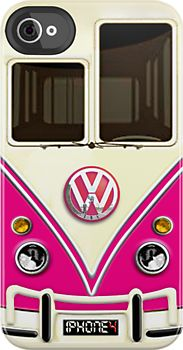 Made in USA, Great Case, Sharp image & Fast Shipping. Pink Volkswagen VW with chrome logo iphone 4 4s, iPhone 3Gs, iPod Touch 4g case
