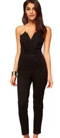 e6ae29b6962 Off-shoulder V-neck Backless Slim Long Jumpsuit