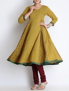 Yellow-Green Ajrakh Printed Kalidar Cotton Kurta