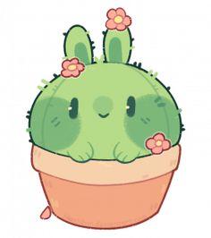 [p]: cactus bun by blushbun.devianta… on [p]: cactus bun of blushbun. Cute Animal Drawings Kawaii, Cute Little Drawings, Cute Cartoon Drawings, Cartoon Kunst, Cartoon Art, Cactus Cartoon, Doodles Kawaii, Cute Doodles, Arte Do Kawaii