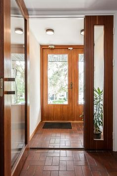 Prästliden Kinna, Sweden 1962 I'd love to have these doors and the terra-cotta tile. It reminds me of my aunts house in Mexico 💕 My Ideal Home, Next At Home, Teracotta Floor, Building Concept, Architectural Features, Scandinavian Home, Mid Century House, Mid Century Design, Door Design