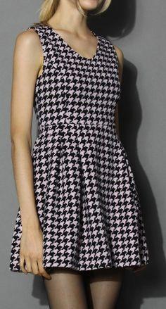 Pinky Houndstooth V-neck Dress