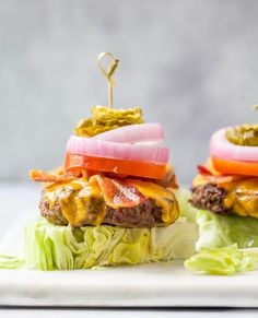 The Perfect Keto Bacon Cheeseburger made with lean bison meat served on a lettuce wedge with classic fixings - juicy, cheesy and loaded with flavor! Bison Burger Recipe, Paleo Burger, Paleo Bacon, Easy Healthy Recipes, Low Carb Recipes, Healthy Eats, Bacon Recipes, Paleo Recipes, Grilled Hamburger Recipes