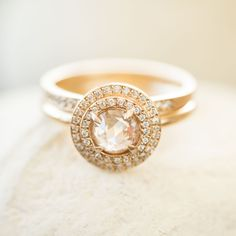 A double pavé yellow gold engagement piece. Made in San Francisco by Rebecca Overmann.