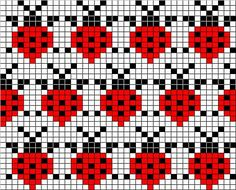 knitiot's Ladybug Mitten Pattern and chart:
