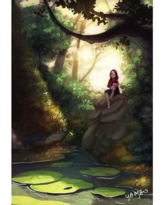Stillness, an art print by Yaoyao Ma Van As Alone Art, Wow Art, Cute Cartoon Wallpapers, Anime Art Girl, Aesthetic Art, Belle Photo, Cartoon Art, Cute Drawings, Cute Art