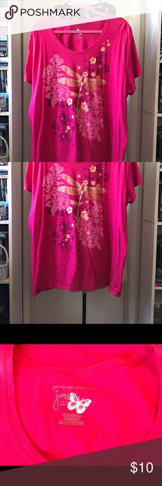 Hot Pink Top W/ Golden Dragonfly & Floral Print Hot pink short sleeve top w/ golden dragonfly and floral print in Great Condition. Absolutely no stains, tears, or rips. Comes from a Smoke Free & Cat loving home. JMS Tops Tees - Short Sleeve