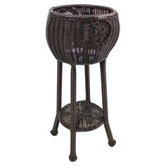 Pemberly Row Round Resin Plant Stand in Antique Pecan
