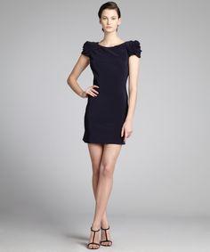 A.B.S. by Allen Schwartz midnight blue sateen rosette shoulder open back dress | BLUEFLY up to 70% off designer brands