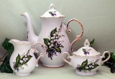 Fielder Keepsakes - Lily of the Valley Teapot Creamer Sugar Set New Arrivals