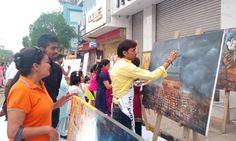 jamshedpur jam@street in painting of Arjun Das
