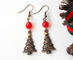 Bronze Christmas Tree & Crystals Dangle Earrings by asteriascollection, $6.50