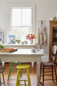 Family History:  When a home's been in the family for 75 years, you can count on it having a fascinating mix of furniture and decor. In this 19th-century California farmhouse's kitchen, the marble top table comes from the owner's great-grandfather's workshop, and all the mismatched chairs were brought in from the barn.