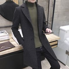 Mens England Style Wool Blend Jacket Casual Long Coats Korean Outwears  parka YH in Clothing 2e9d2f5c4ad