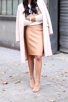 Apricot Leather Pencil Mini Skirt