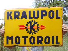"""Vintage Sign Kralupol Motor Oil Porcelain Sign European 23 1/2 x 15 1/2""""  #Kralupol"""