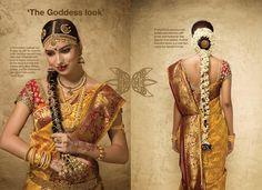 South Indian bride. Yellow Kanchipuram silk sari with contrast red blouse. Braid with fresh flowers.Flower garland.Temple jewelry. Tamil bride. Telugu bride. Kannada bride. Malayalee bride. Hindu bride