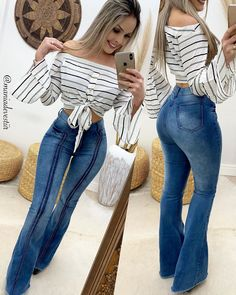 A imagem pode conter: 1 pessoa, listras Cute Fall Outfits, Chic Outfits, Pretty Outfits, Fashion Outfits, Womens Fashion, Vetement Fashion, Sexy Jeans, Weekend Wear, Mode Style