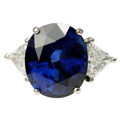 My birthstone and on sale today at 1stdibs.com! Only 150K!  | 18.38 Ceylon Sapphire Ring GIA Report