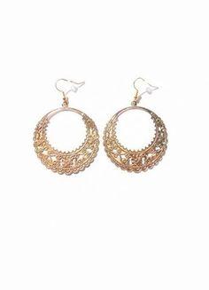 boucles d'oreilles créoles dorées doré or ajouré décoration ethnique bohème boho