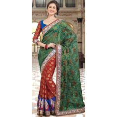 SHK6Q1401 - Multicolored Jacquard Saree with Blouse