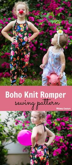 Cutest knit romper pattern for babies & girls! Downloadable pattern with multiple sized templates. Halter and harem pants style with free add-on to make shorts. (affiliate link to my Etsy shop)