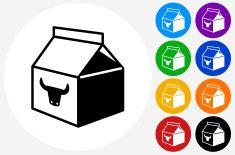 Milk Carton Icon on Flat Color Circle Buttons vector art illustration