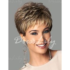 Fashion Fluffy Side Bang Blonde Mixed Brown Elegant Short Straight Synthetic Capless Wig For Women