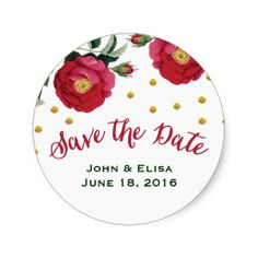 Floral and Gold Confetti Save the Date Stickers