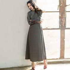 gray checked printed choker neck long sleeves maxi dress #dress    #maxi    #chokerneck    #polyester