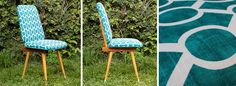 Sillas estilo americano, madera maciza de guatambú, lustre natural con laca. Retapizadas a nuevo con algodón 100% estampado en turqueza...