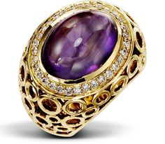 """Eclipse 18ct """"oval eye"""" amethyst with diamonds in yellow gold"""