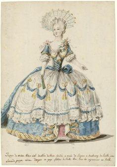 Charles-Germain de Saint-Aubin: ame en robe de cour retroussée sur le côté droit, 1786. ©Photo Les Arts Décoratifs, Paris Tous droits réservés