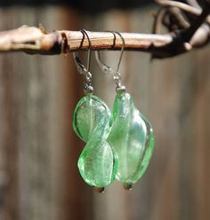Light green twisted foil glass and sterling by KarmaKittyJewelry