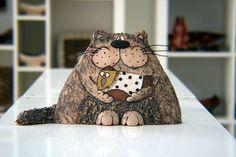 Pottery Cat, Cat Sculpture, Pottery and Ceramic, Ceramic Cat, Art decor, Animal sculpture, Home Decoration, Handmade Clay Cat, Fun Cat