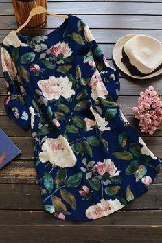 A| Cotton Floral Short Sleeve Shift Dress-Cheap Casual Dresses | Chicloth Shift Dresses, Mini Dresses, Floral Dresses, Ivory Dresses, Vintage Dresses, Maxi Dress With Sleeves, The Dress, Dress Long, Dress Skirt