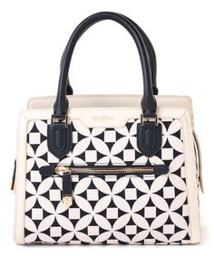 This Black & White Kiawah Sarah Leather Satchel by Spartina 449 is perfect! #zulilyfinds