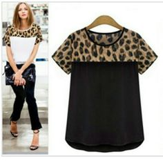 Chiffon Leopard Blouse New without tags available in black with leopard chiffon print. The tag reads XL but runs really small. Fits a size SMALL. Tops Blouses