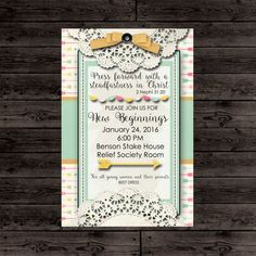 LDS New Beginnings Invitation - Young Women in Excellence 2016 - Press Forward with a Steadfastness in Christ- Custom Invitation- 4x6 LDS New Beginnings Invitation  Young Women in by bowpeepcreations